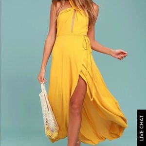 High-low maxi dress in mustard